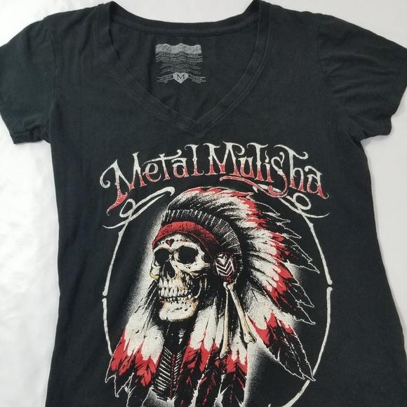 Womens' Metal Mulisha Indian Skull SS Top Medium